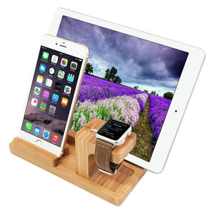 loomrack Bamboo Tech Docking Stand Organizer & Charger Mobile Phone Holders & Stands
