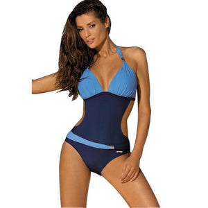 loomrack Belted One Piece Swimsuit Body Suits Blue / S