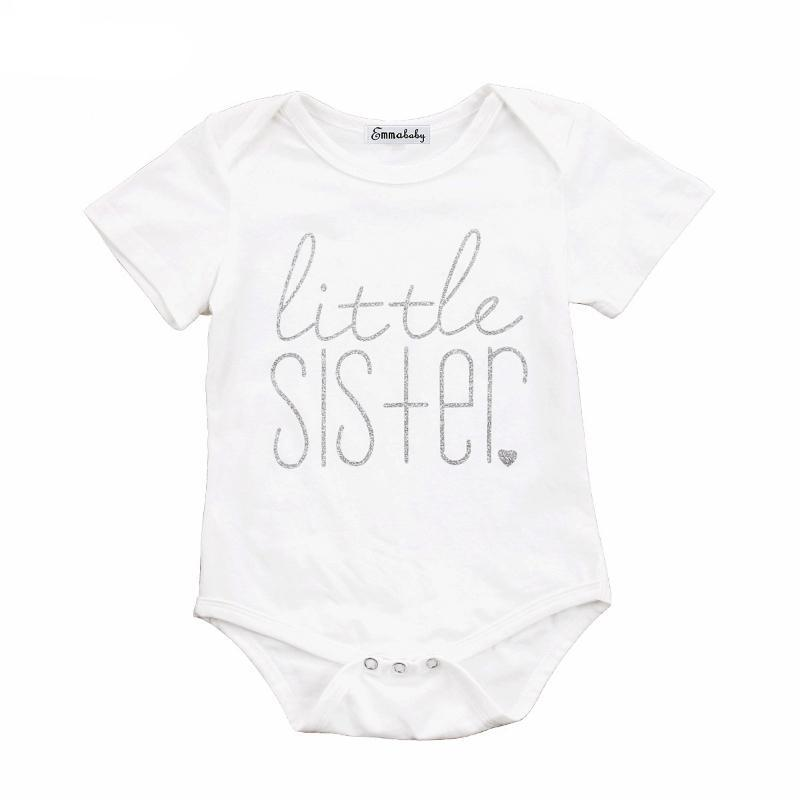 loomrack Big Brother Little Sister Matching Shirts - Big Brother T-shirt and Little Sister Onesie Matching Outfits White -Little Sister / 6M