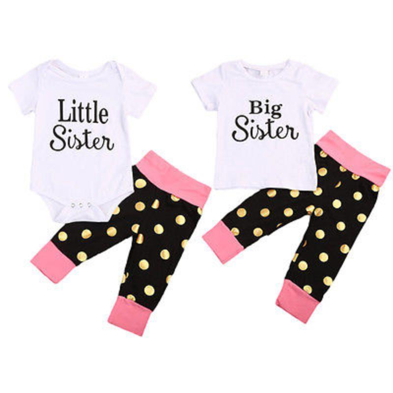 loomrack Big Sis - Little Sis Matching Outfit - Pokadots Family Matching Outfits Little 0 to 6M