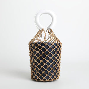 loomrack Bohemian Bucket Bag Top-Handle Bags Navy With White Handle