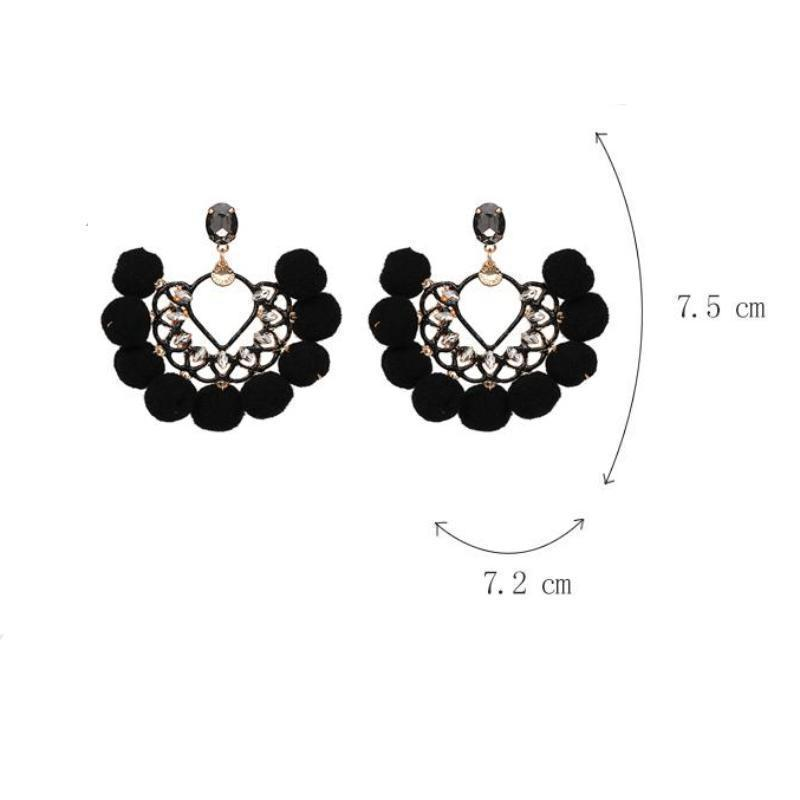 loomrack Bohemian Drop Dangle Pom Pom Earrings Drop Earrings