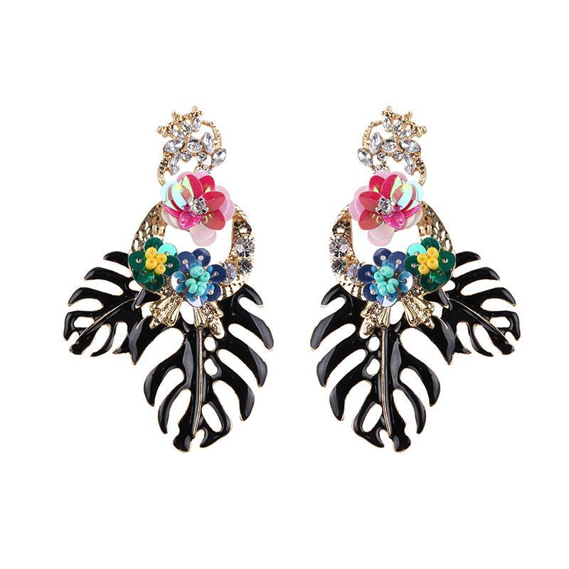 loomrack Bohemian Floral Leaf Drop Earrings Drop Earrings Black