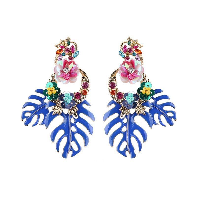loomrack Bohemian Floral Leaf Drop Earrings Drop Earrings Blue