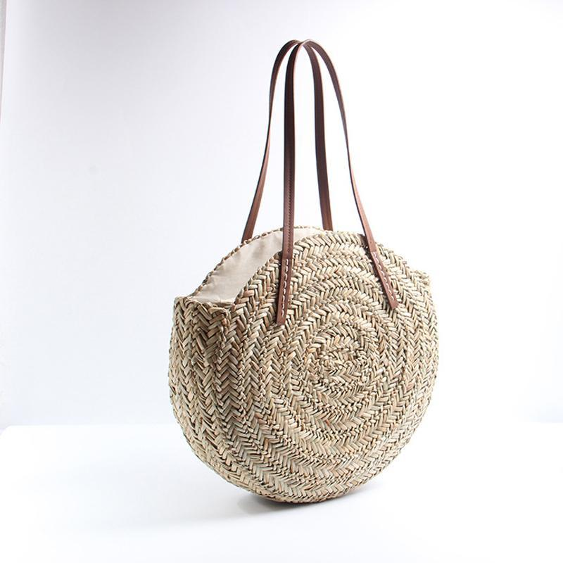 loomrack Bohemian Round Straw Beach Bag Shoulder Bags