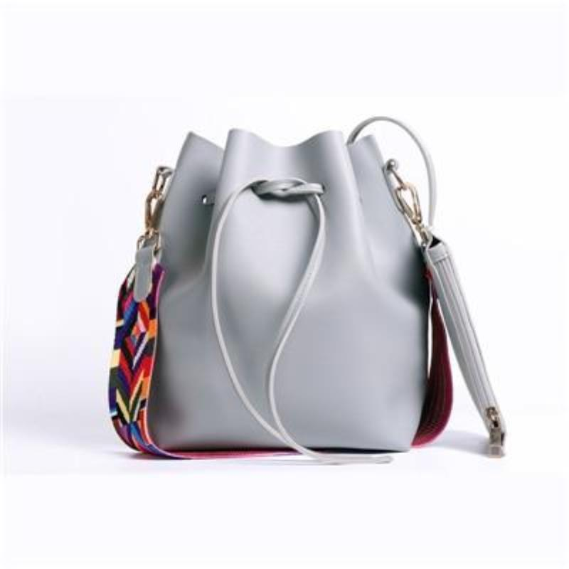 loomrack Boho Bucket Bag with Multicolor Shoulder Strap Shoulder Bags Gray