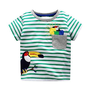 loomrack Boys 100% Cotton Summer T-Shirt  (Sizes 18M - 2T) T-Shirts Bird Pattern / 2T