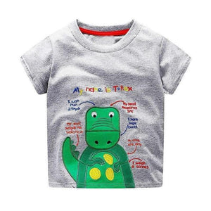 loomrack Boys 100% Cotton Summer T-Shirt  (Sizes 18M - 2T) T-Shirts Green Dinosaur Pattern / 2T