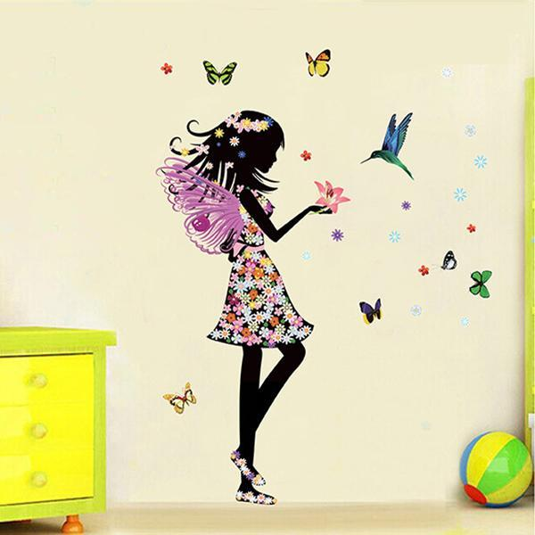 loomrack Butterfly Girl Wall Decal Wall Stickers
