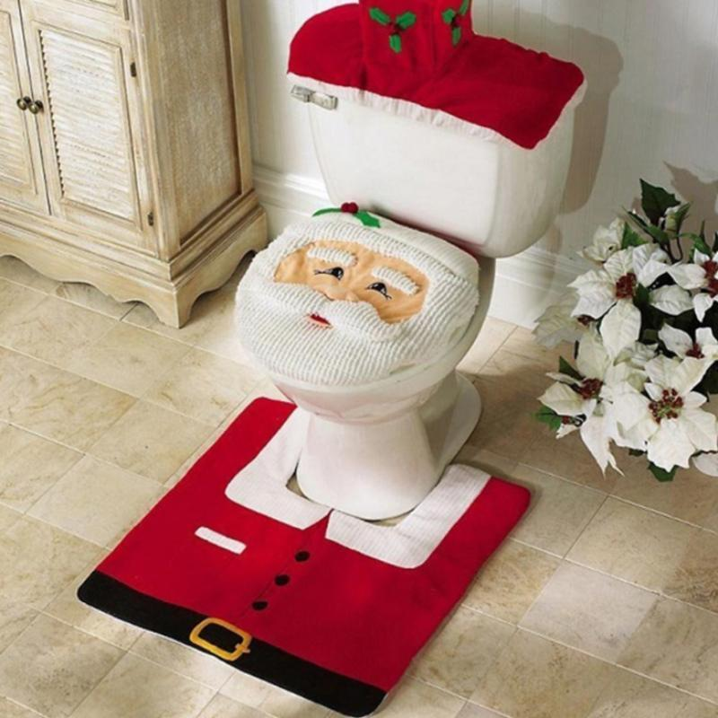 loomrack Christmas Bathroom Set - Toilet Cover Rug 3-Pc Set Christmas Accessories
