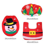 loomrack Christmas Bathroom Set - Toilet Cover Rug 3-Pc Set Christmas Accessories Red snowman