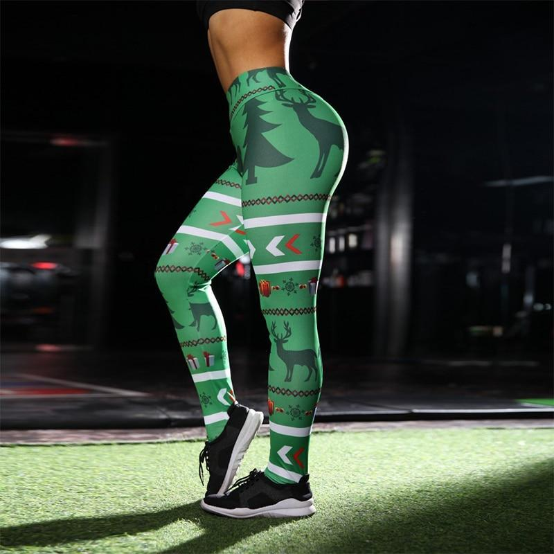 loomrack Christmas Leggings - Green Deer Print Leggings
