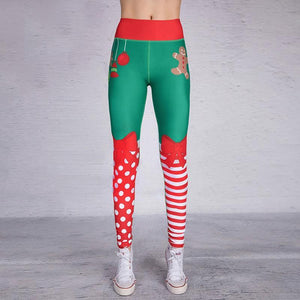 loomrack Christmas Leggings - High Waist Elf Squad Green Polka Dot Stripe Leggings