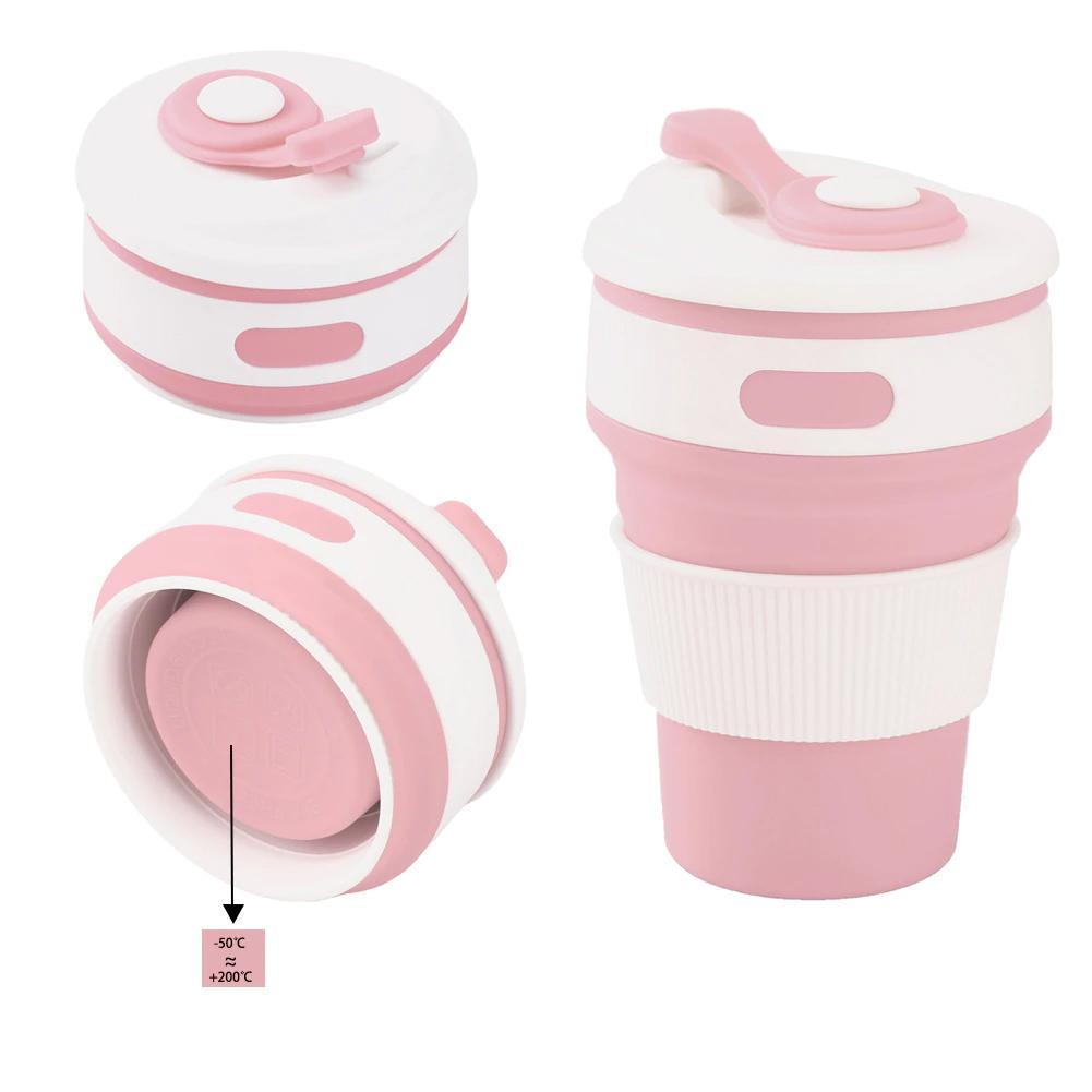 loomrack Collapsible Coffee Mug - Perfect On-the-Go Collapsible Cup for Travel & Camping Mugs Pink / 350ML