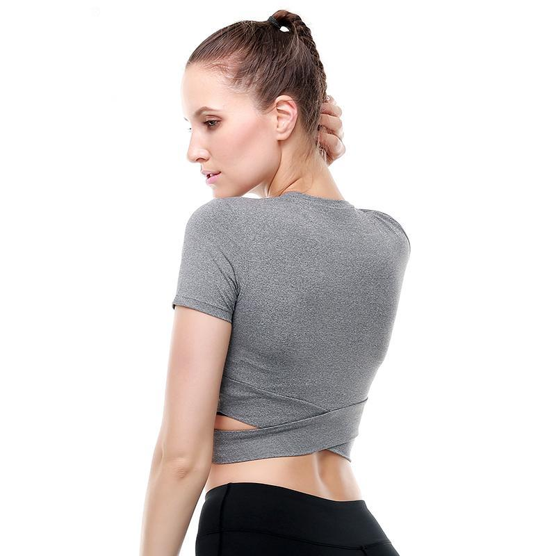 loomrack Criss-Cross Short Sleeve Crop Workout Top Yoga Shirts