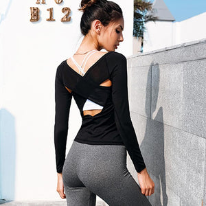 loomrack Cross Mesh Open Back Long Sleeve Fitness Top Yoga Shirts