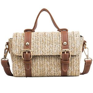 loomrack Crossbody Braided Straw Messenger Bag Top-Handle Bags Brown