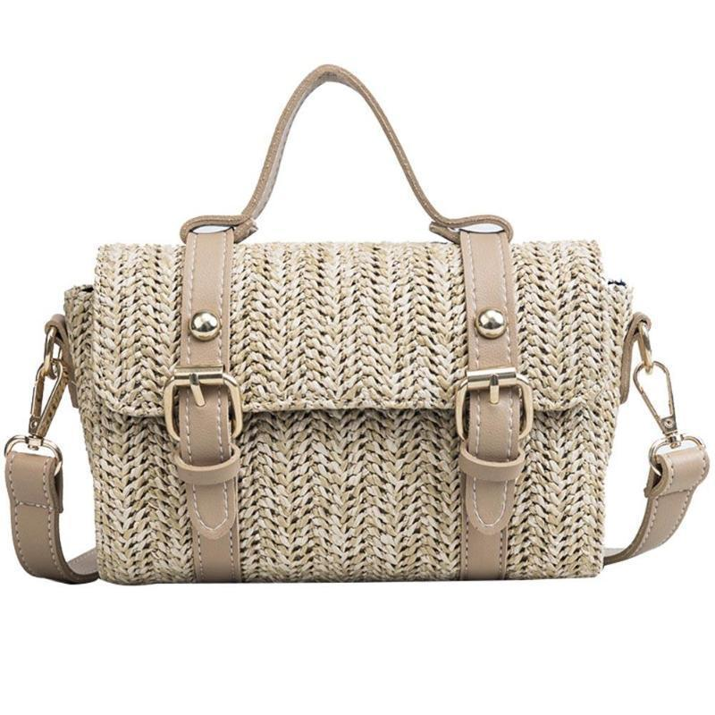 loomrack Crossbody Braided Straw Messenger Bag Top-Handle Bags Khaki