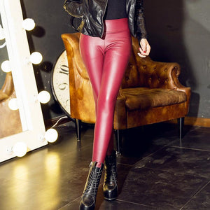 loomrack Faux Leather Leggings Leggings Wine Red / S