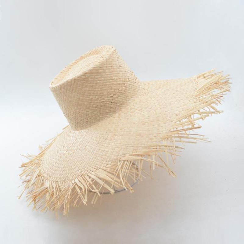 loomrack Frayed Edge Raffia Straw Sun Hat Bucket Hats