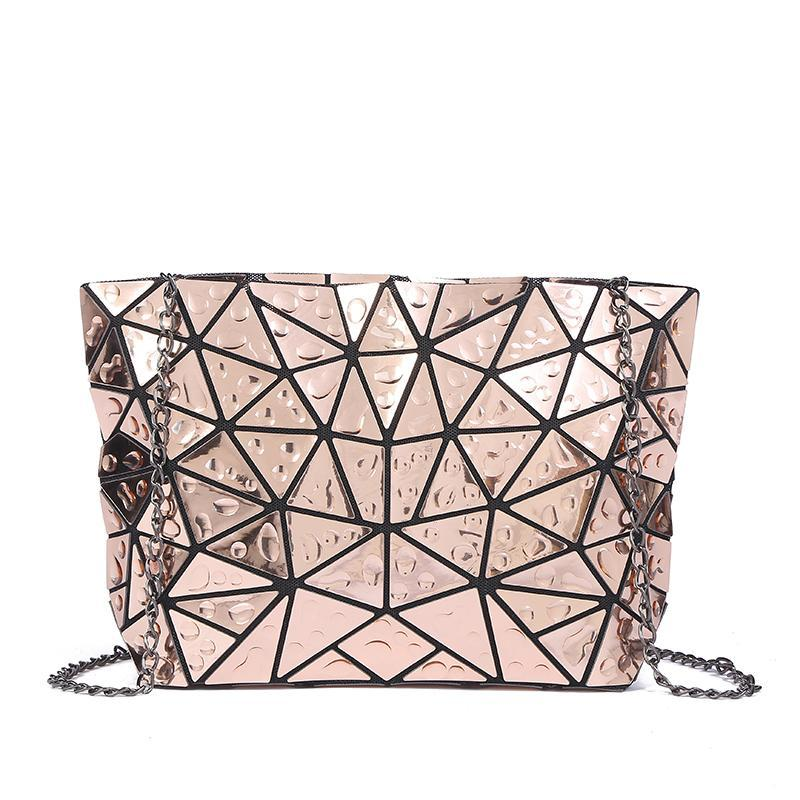 loomrack Geometric Foldable Shoulder Bag Cross Body Bags Gold