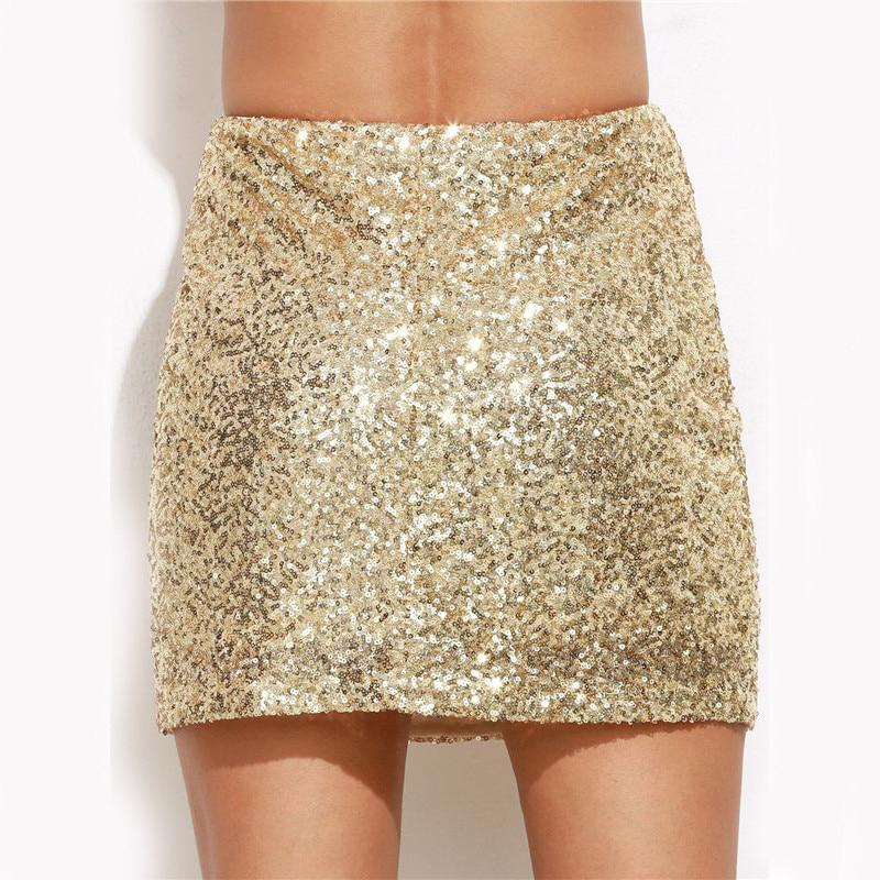 loomrack Gold Sequin Mini Skirt Women's skirts