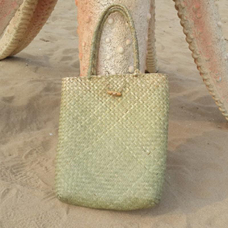 loomrack Hand Woven Straw Tote Bag Top-Handle Bags Green