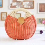 loomrack Handmade Bohemian Bali Rattan Handbag Top-Handle Bags Orange