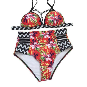 loomrack Hawaiian Floral High Waisted Bikini Bikinis Set Red / S
