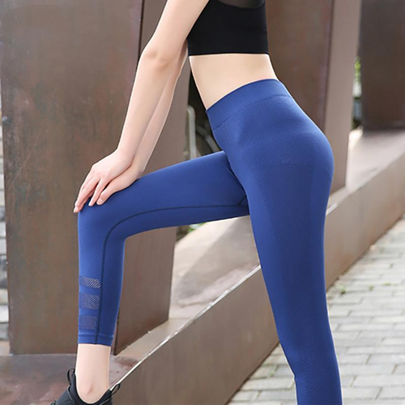 loomrack High Waisted Reflective Mesh Capri Leggings Yoga Pants Blue / XS