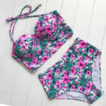 loomrack High Waisted Retro Floral Bikini Set Bikinis Set Pink / S
