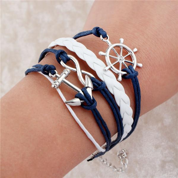 loomrack Infinity Leather Charm Bracelet - Over 15 Styles! Charm Bracelets Blue Wheel Anchor