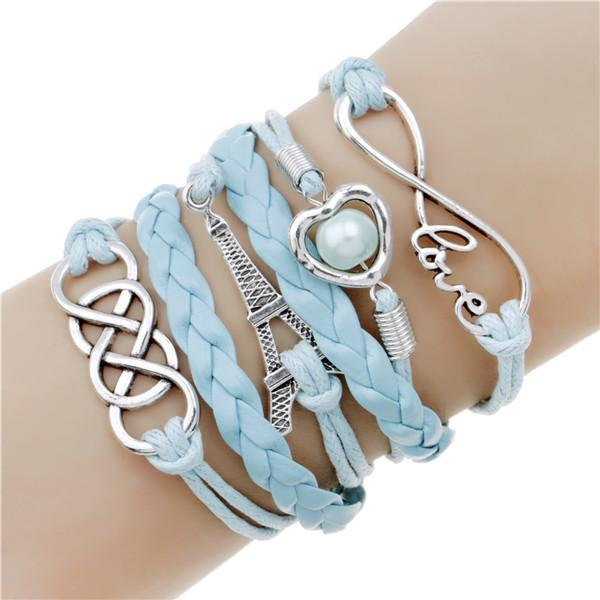 loomrack Infinity Leather Charm Bracelet - Over 15 Styles! Charm Bracelets Sky Blue Paris