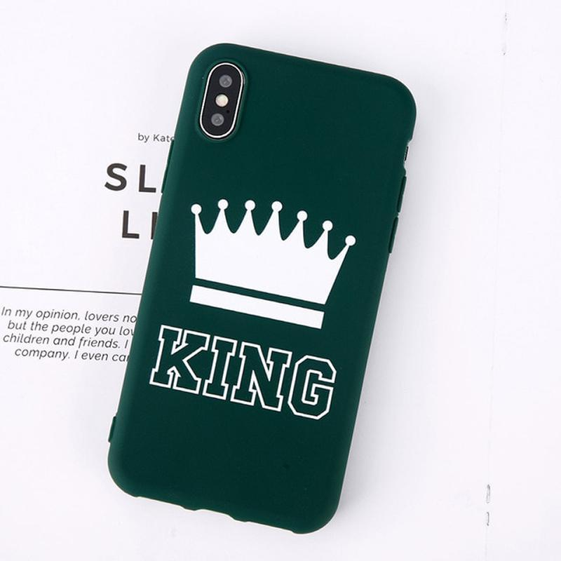 loomrack King Queen Crown iPhone Case - For iPhone  X / SE / 5C / 5S / 6 / 6 Plus / 6S / 7 / 8 Plus Phone Cases Green King / For iPhone X