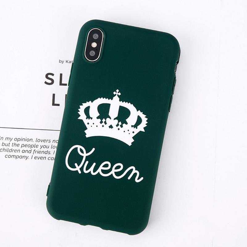 loomrack King Queen Crown iPhone Case - For iPhone  X / SE / 5C / 5S / 6 / 6 Plus / 6S / 7 / 8 Plus Phone Cases Green Queen / For iPhone X