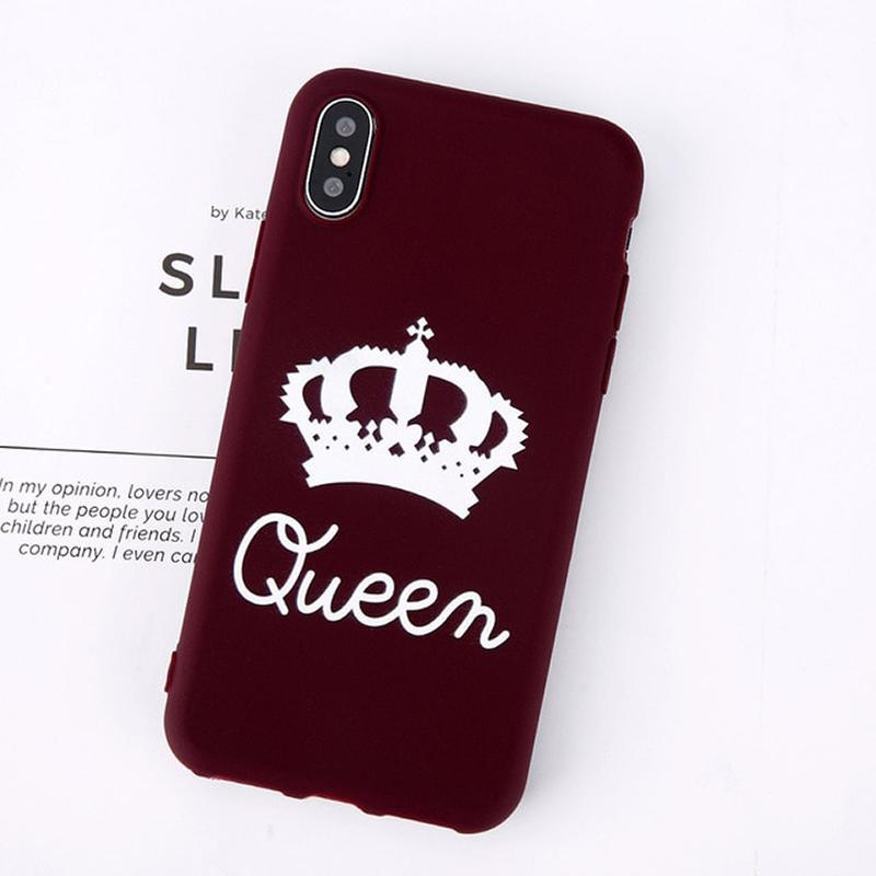 loomrack King Queen Crown iPhone Case - For iPhone  X / SE / 5C / 5S / 6 / 6 Plus / 6S / 7 / 8 Plus Phone Cases Wine Red Queen / For iPhone X