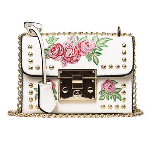 loomrack Leather Embroidered Crossbody Bag Shoulder Bags White