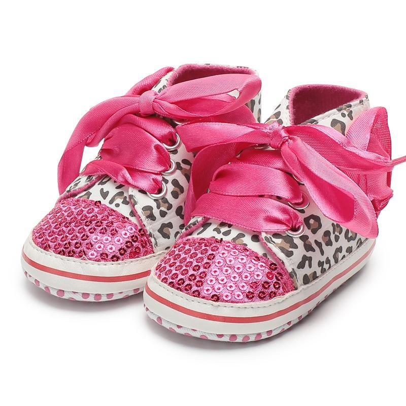 loomrack Leopard Sequin Infant Girl Shoes Baby Accessories Rose Red / 0-6 Months