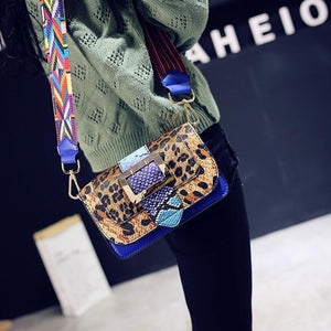 loomrack Leopard Snakeskin Crossbody Flap Bag with Multicolor Strap Cross Body Bags