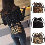 loomrack Leopard Velvet Crossbody Bucket Bag Shoulder Bags
