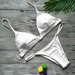loomrack Low Waisted Brazilian Cut Padded Bikini Bikinis Set White / S