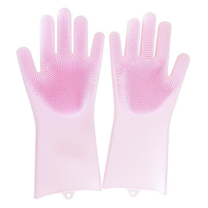 loomrack Magic Silicone Dish Washing Gloves Kitchen Pink