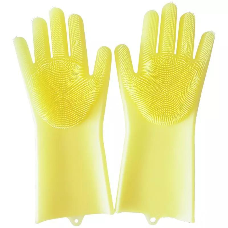 loomrack Magic Silicone Dish Washing Gloves Kitchen Yellow