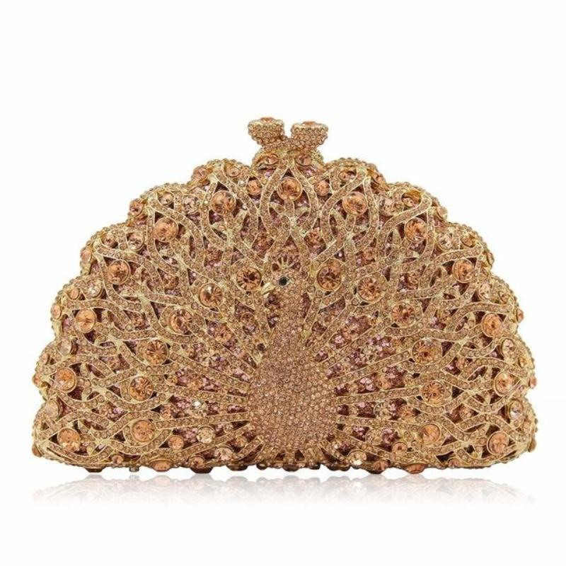 loomrack Magnificent Peacock Evening Clutch Bag Evening Bags Champagne