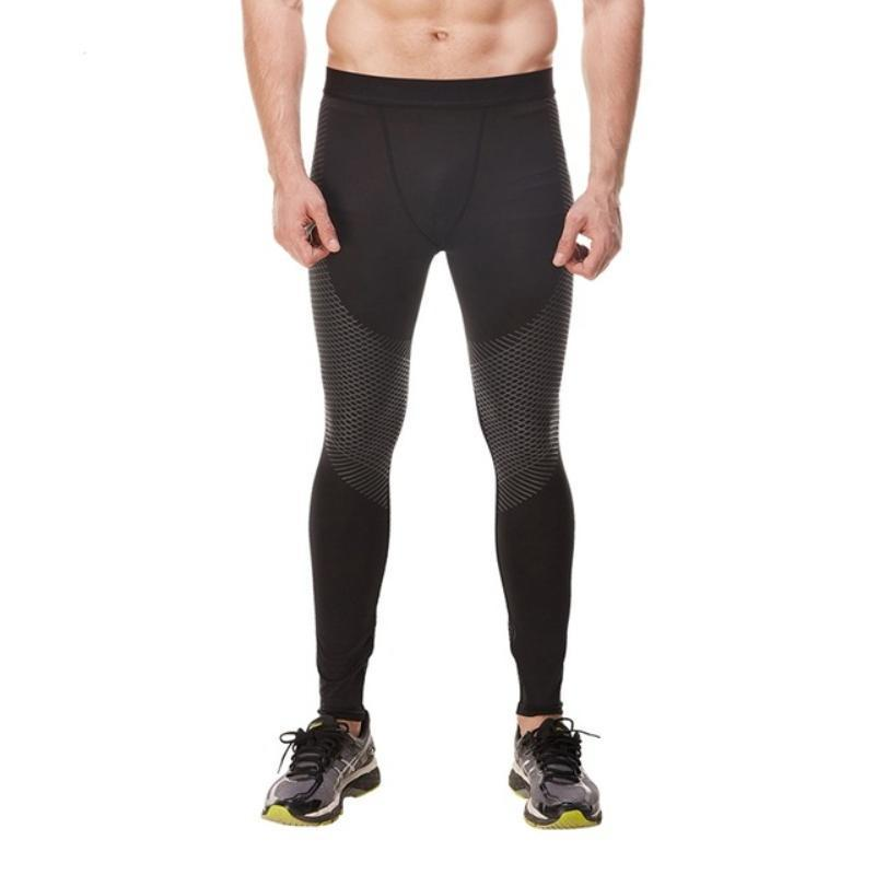 loomrack Men's Optical Design Reflective Compression Leggings Running Tights Black / S
