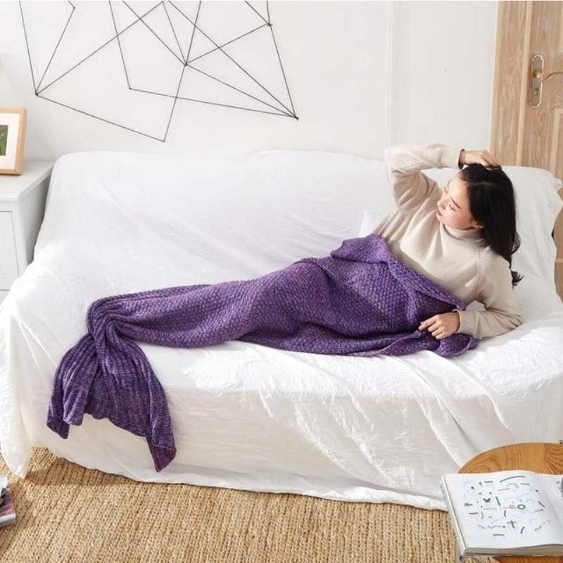 loomrack Mermaid Tail Blanket - Crochet - Adult / Kids / Baby Blankets Dark Purple / Baby 50x80CM