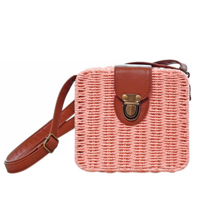 loomrack Mini Straw Messenger Bag Shoulder Bags Pink