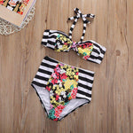 loomrack Mother Daughter High Waisted Floral Stripe Matching Swimsuits Family Matching Outfits