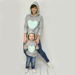 loomrack Mother/Daughter Matching Heart Hoodies Matching Family Outfits Light Green / S