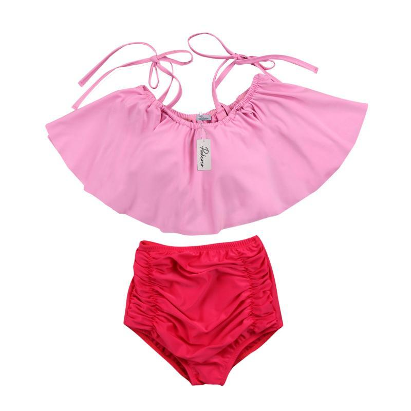 loomrack Mother/Daughter Matching Pretty in Pink Ruffle Swimsuits Family Matching Outfits